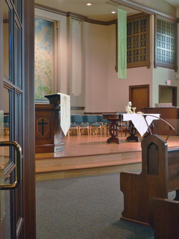 Interior of the sanctuary at Rose City Park Presbyterian Church in Northeast Portland, Oregon.