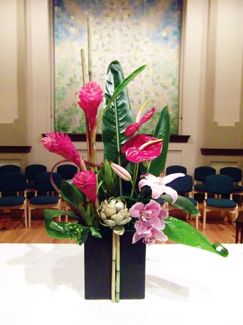 Flowers for a memorial service at Rose City Park Presbyterian Church in Northeast Portland, Oregon.